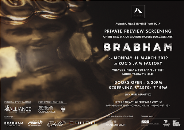 Brabham Movie VIP Private Preview Screening!